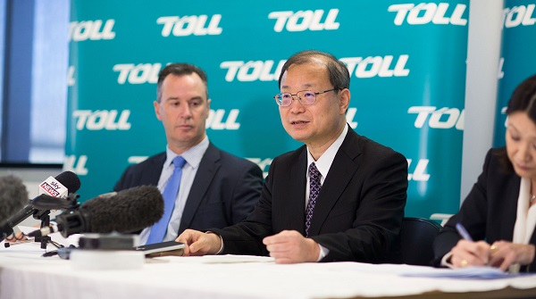 Toll MD Brian Kruger and Japan Post CEO Toru Takahashi